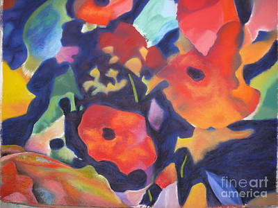 Poster featuring the pastel Poppy Bouquet by Terri Thompson