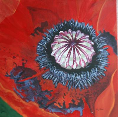 Poster featuring the painting Poppy Centre by Betty-Anne McDonald