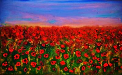 Poster featuring the painting Poppy Field by Evelina Popilian