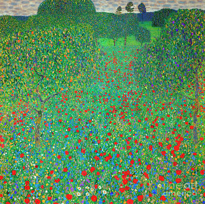 Poppy Field Poster by Gustav Klimt