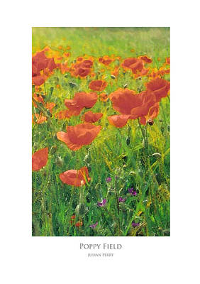 Poster featuring the digital art Poppy Field by Julian Perry