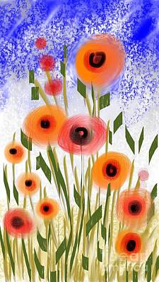 Poster featuring the digital art Poppy Garden by Elaine Lanoue