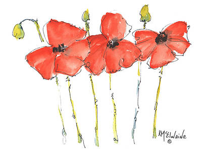Red Poppy Play Poster by Kathleen McElwaine