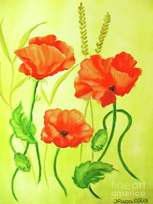 Poster featuring the painting Poppy Trio by Inese Poga
