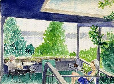 Porch At Lake Travis Poster by Fred Jinkins