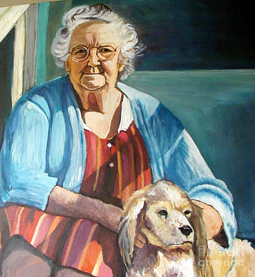 Porch Gramma With Spaniel Poster by Ida Knuuttila