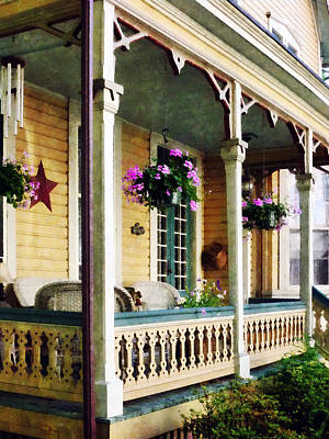 Porch With Hanging Plants Poster by Susan Savad