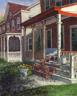 Porch With Pots Of Pansies Poster by Susan Savad