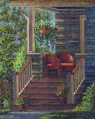 Porch With Red Wicker Chairs Poster