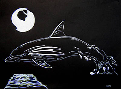 Poster featuring the drawing Porpoise Sillhouette by Mayhem Mediums