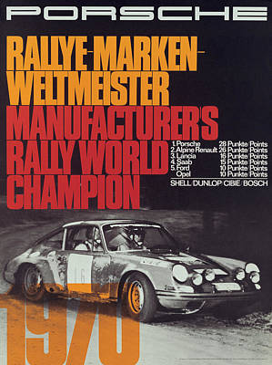 Porsche 1970 Rally World Champion Poster by Georgia Fowler