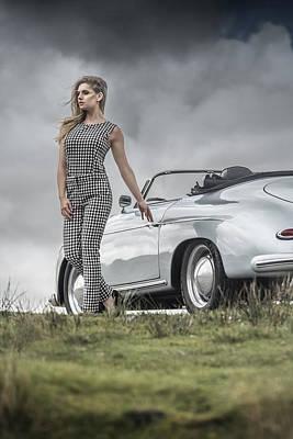 Porsche 356 Speedster With Model Poster