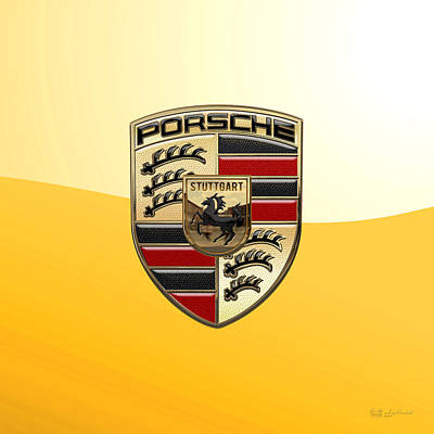 Porsche - 3d Badge On Yellow Poster by Serge Averbukh