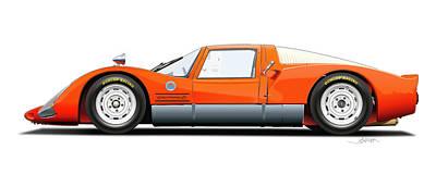 Porsche 906 Illustration Poster by Alain Jamar