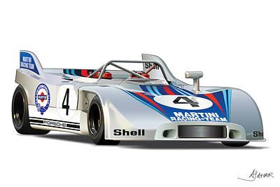 Porsche 908 Martini Poster by Alain Jamar