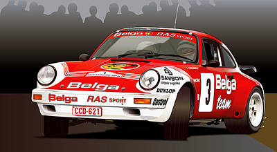Porsche 911 Rally Illustration Poster by Alain Jamar