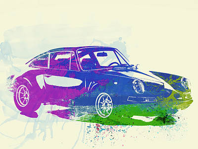 Porsche 911 Watercolor Poster by Naxart Studio