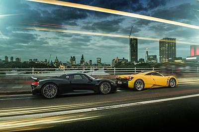 Porsche 918 Spyder And Pagani Huayra Poster