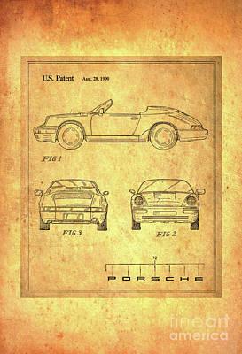 Porsche Blueprint Poster by Steven Parker