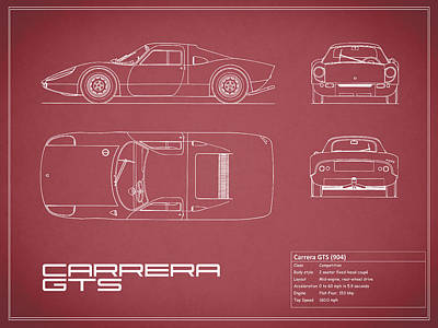 Porsche Carrera Blueprint - Red Poster by Mark Rogan
