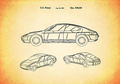 Porsche Patent 1993 Poster by Mark Rogan