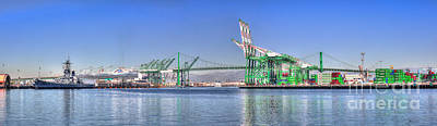 Port Of Los Angeles - Panoramic Poster by Jim Carrell
