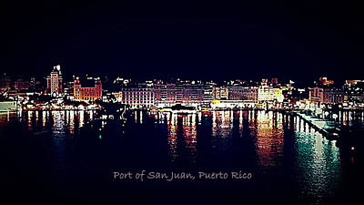 Poster featuring the photograph Port Of San Juan Night Lights by DigiArt Diaries by Vicky B Fuller