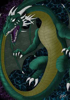 Poster featuring the digital art Portal Dragon by Raphael Lopez