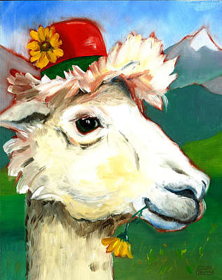 Poster featuring the painting Portland Alpaca by Susan Thomas