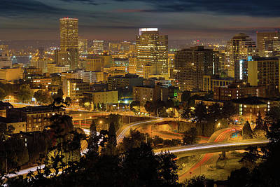Portland Downtown Cityscape And Freeway At Night Poster