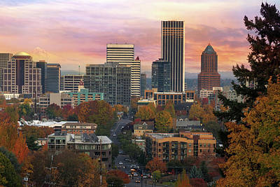 Portland Downtown Cityscape During Sunrise In Fall Poster