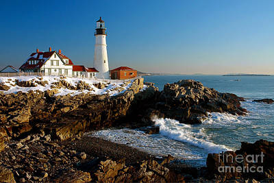 Portland Head Light - Lighthouse Seascape Landscape Rocky Coast Maine Poster by Jon Holiday