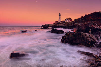 Poster featuring the photograph Portland Head Light In Pink  by Emmanuel Panagiotakis