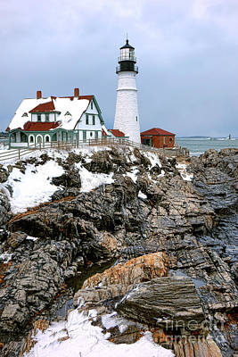 Poster featuring the photograph Portland Head Light In Winter by Olivier Le Queinec