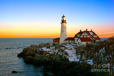 Portland Head Light Winter Sunset Poster by Olivier Le Queinec