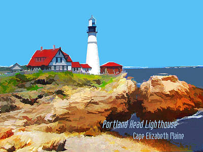Portland Head Lighthouse Cape Elizabeth Maine Poster by Elaine Plesser