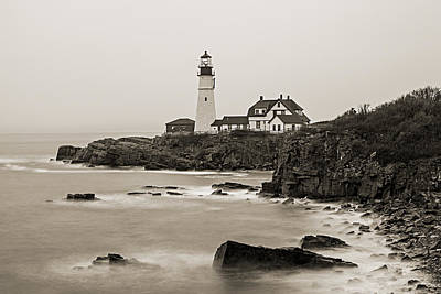 Portland Head Lighthouse Foggy Morning Sepia Poster