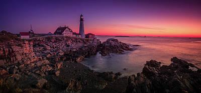 Poster featuring the photograph Portland Head Lighthouse Sunrise  by Emmanuel Panagiotakis