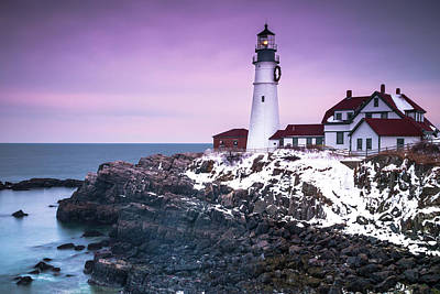 Maine Portland Headlight Lighthouse In Winter Snow Poster