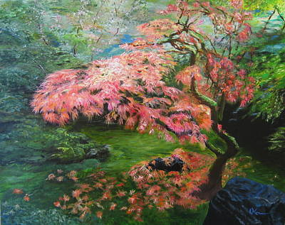 Portland Japanese Maple Poster by LaVonne Hand