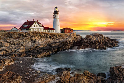 Portland Lighthouse Sunrise Poster by Susan Candelario