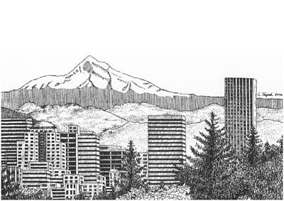 Portland-mt. Hood Poster by Lawrence Tripoli