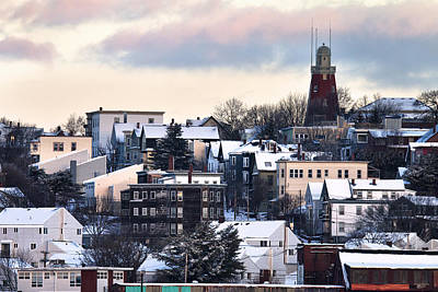 Portland Observatory Winter Skyline Poster by Eric Gendron