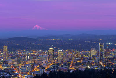 Portland Oregon Cityscape At Dusk Poster