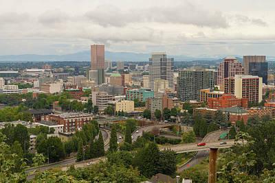 Portland Oregon Downtown Cityscape By Freeway Poster