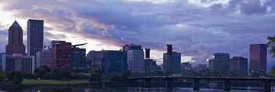 Portland Oregon Panorama Poster by Jonathan Davison