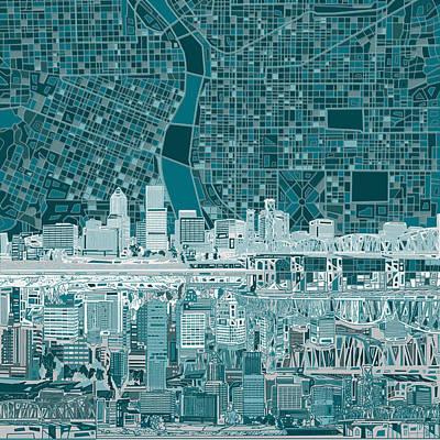 Portland Skyline Abstract 10 Poster