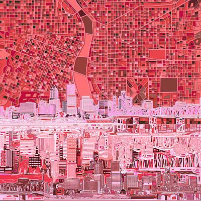 Portland Skyline Abstract 4 Poster