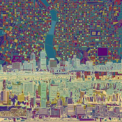 Portland Skyline Abstract 7 Poster