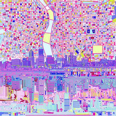 Portland Skyline Abstract Poster